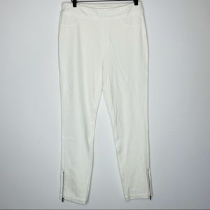 Soft Surroundings White SMALL High Rise Zip Ankle Skinny Pull On Casual Pants